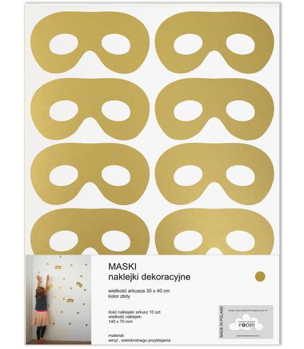 Naklejki ścienne złote maski