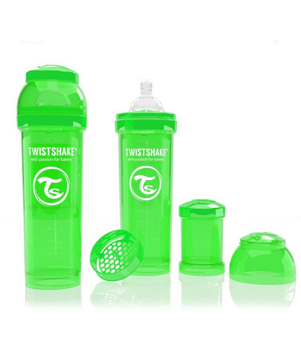 Butelka Twistshake anty-kolkowa 330ml zielona