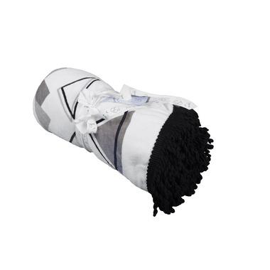 Ręcznik plażowy/ koc piknikowy/ mata podłogowa 110cm Czarno-Biały 100% bawełna