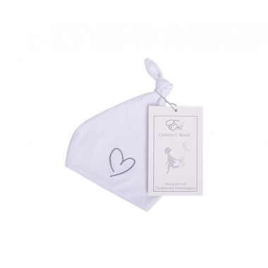 Czapka niemowlęca biała z szarym Sercem 0-1m