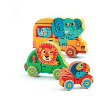 Djeco, drewniane puzzle samochody - Pachy & Co