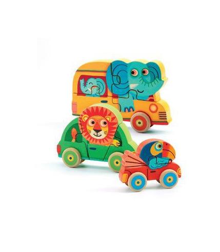 Drewniane puzzle samochody - Pachy & Co Djeco