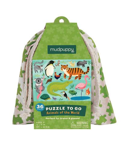 Mudpuppy, puzzle podróżne w woreczku 36el.- Zwierzęta świata