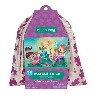 Mudpuppy, puzzle podróżne w woreczku 36el.- Syrenki