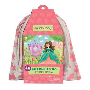 Mudpuppy, puzzle podróżne w woreczku 36el.- Księżniczki