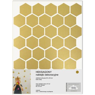Naklejki ścienne złote Heksagony
