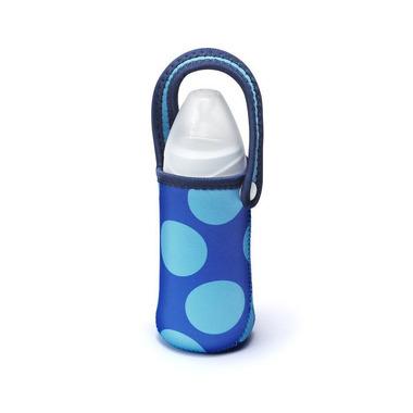 Etui na butelkę z neoprenu (niebieskie w kropki)