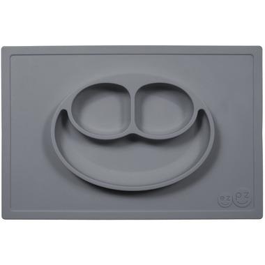 EZPZ, silikonowy talerzyk z podkładką 2w1 Happy Mat szary