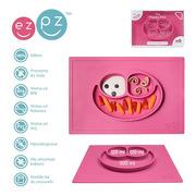 EZPZ, silikonowy talerzyk z podkładką 2w1 Happy Mat różowy