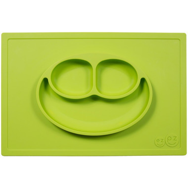 EZPZ, silikonowy talerzyk z podkładką 2w1 Happy Mat zielony