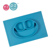 EZPZ, silikonowy talerzyk z podkładką 2w1 Happy Mat niebieski