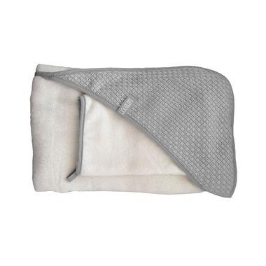 Ręcznik z kapturkiem + myjka SQUARE - 100% bambus organiczny (biały&popielaty)