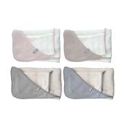 Ręcznik z kapturkiem + myjka SQUARE - 100% bambus organiczny (biały&jasny róż)