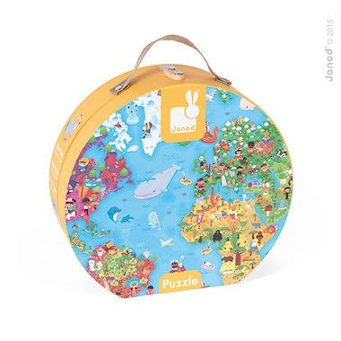 Janod, puzzle w walizce Mapa Świata 300 elementów