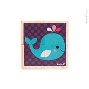 Janod, klocki drewniane Puzzle 6w1 Zwierzątka
