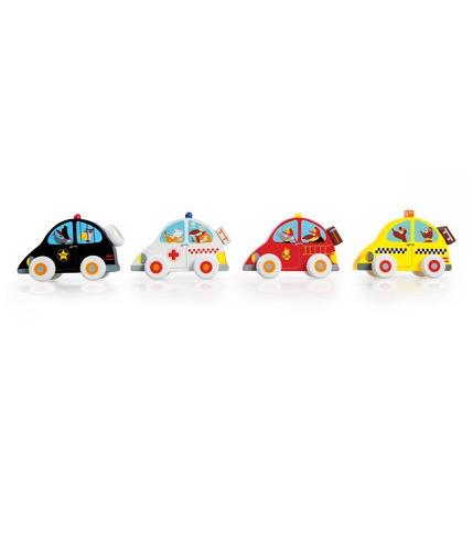 Cztery Drewniane Samochodziki: Policja, Karetka, Straż i Taxi