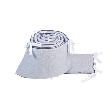 Poofi, Ochraniacz do łóżeczka szary z białymi troczkami 28x420 cm (łóżeczko 140x70 cm)