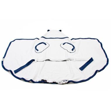 Poofi, Ręcznik bambusowy + szlafrok biało-granatowy