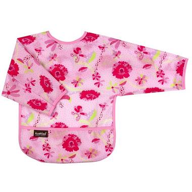 Wodoodporny śliniaczek z rękawami 6-18 miesięcy różowy w kwiaty