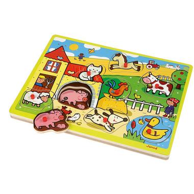 Janod, puzzle z dźwiękami - farma -