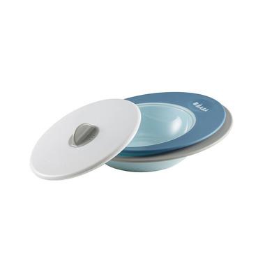 Beaba, komplet talerzyk i miseczka z pokrywką Ellipse blue