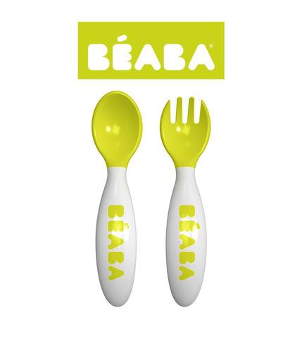 Beaba, sztućce plastikowe w etui neon