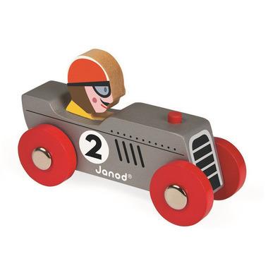 Janod, wyścigówka drewniana Retromotor srebrna