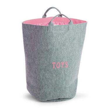 Filcowa torba na zabawk szary i różowy z uchwytami 40x40x60