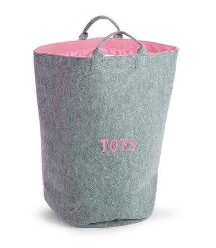 Filcowa torba na zabawki szary i miętowy z uchwytami 40x40x60