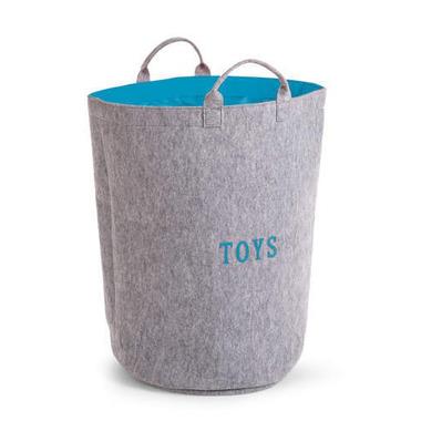 Filcowa torba na zabawki szary i turkus z uchwytami 40x40x60