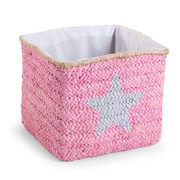Pudełko plecione 30x33x33 star&cloud róż