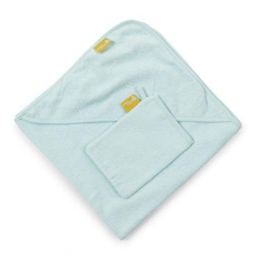 Ręcznik z kapturkiem 80X80cm+myjka frotte miętowy