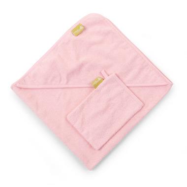 Ręcznik z kapturkiem 80X80cm+myjka frotte różowy