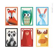Janod, klocki drewniane 6 elementów puzzle Baby Forest