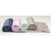 Tkany koc bawełniany 100x150 - brązowo-szary