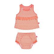 Lassig, kostium do pływania dwuczęściowy z wkładką Zigzag peach, UV 50+, 0-6 mcy
