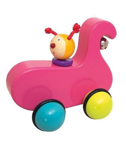 Drewniane kolorowe autko różowe DRAG