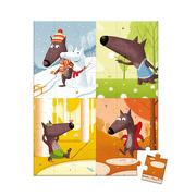 Janod, puzzle w walizce - pory roku wilka