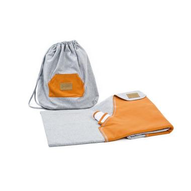 Poofi, chusta elastyczna hybrydowa, szara z pomarańczową kieszonką