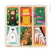 Janod, puzzle sensoryczne drewniane Zwierzątka w ZOO,
