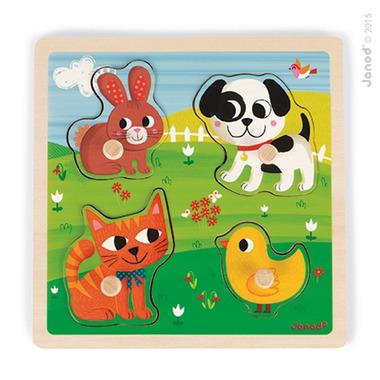Janod, puzzle sensoryczne drewniane Moje pierwsze zwierzątka,