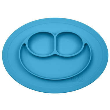EZPZ, silikonowy talerzyk z podkładką mały 2w1 Mini Mat niebieski