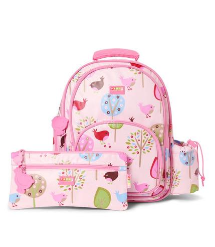 Duży plecak z kieszeniami różowe ptaszki