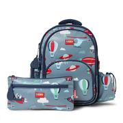 Duży plecak z kieszeniami niebieski w małpki