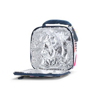 Kwadratowy lunchbox biało - granatowy w gruszki