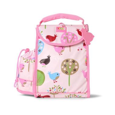 Plecak lunchbox z osobną kieszonką na picie różowy w ptaszki