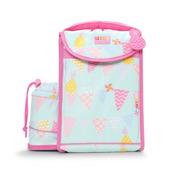 Plecak lunchbox z osobną kieszonką na picie miętowo - różowy w ananasy
