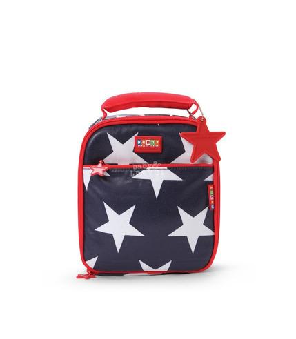 Szkolny lunchbox granatowy w gwiazdy