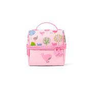 Lunchbox z zamkiem na środku różowy w ptaszki