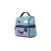 Lunchbox z zamkiem na środku niebieski w małpki